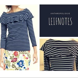 Anthropologie Leifnotes Navy & Teal Top XS